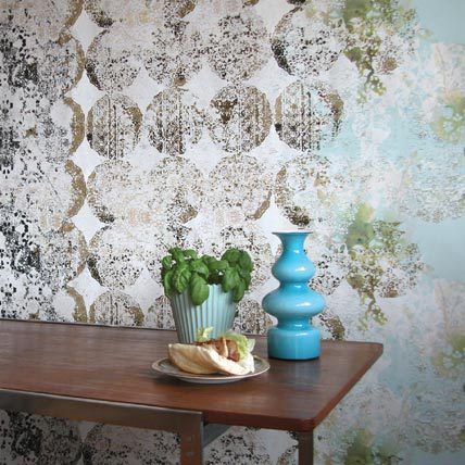 Walldecoration Lene Toni Kjeld :  light blue interior design wallpaper decor